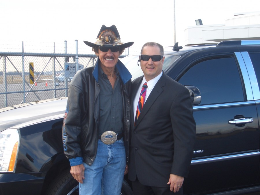 Richard Childress with Jeff, riding in our black Cadillac SUV! Prestige Limousine will drive you anywhere and get you there in time and in style!